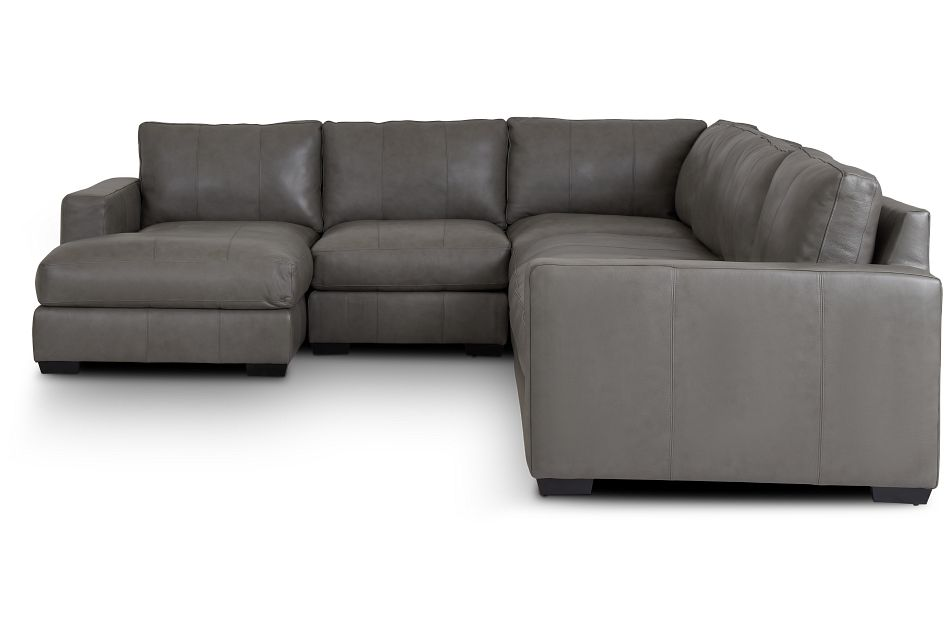 Dawkins Gray Leather Large Left Chaise Sectional,  (2)