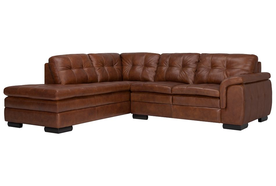 Trevor Medium Brown  LEATHER Small Left Bumper Sectional