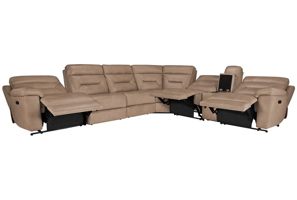 Phoenix Dark Beige Micro Large Two-arm Manually Reclining Sectional