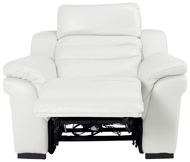 Sentinel White Lthr/vinyl Power Recliner With Power Headrest (3)