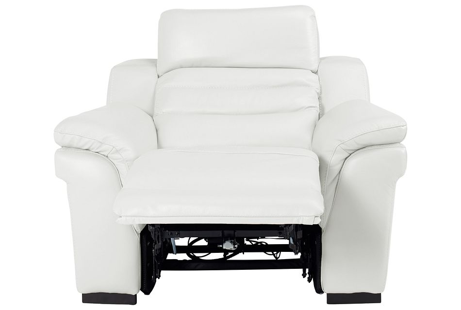 Sentinel White Lthr/vinyl Power Recliner With Power Headrest