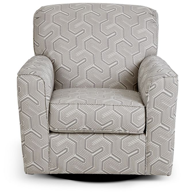 Daylon Light Gray Micro Swivel Accent Chair (3)