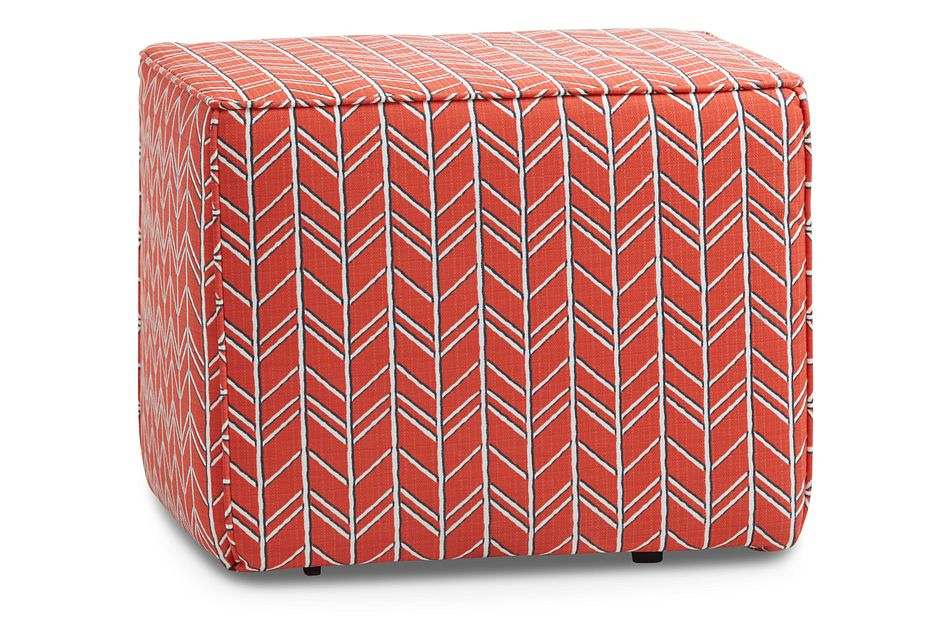 Bogatell Orange Fabric Indoor/outdoor Accent Ottoman