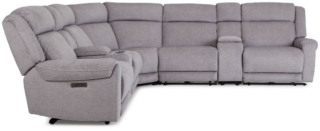 Beckett Gray Micro Large Triple Power Reclining Two-arm Sectional (2)