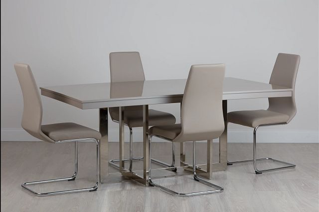 Cortina Champagne Rect Table & 4 Upholstered Chairs (0)