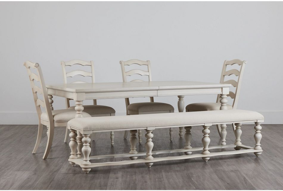 Savannah Ivory Rect Table, 4 Chairs & Bench,  (0)