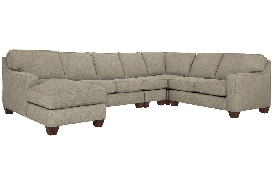 York PEWTER FABRIC Large Left Chaise Sectional