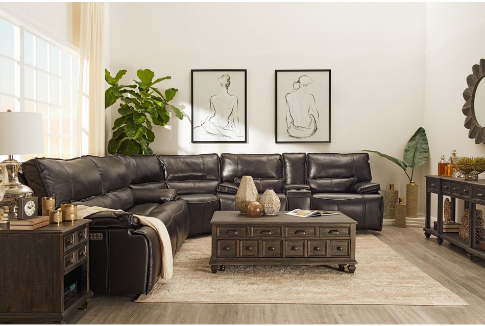 Jesse Dark Brown Lthr Vinyl Two Arm Power Reclining Sectional Living Room Reclining Sectionals City Furniture