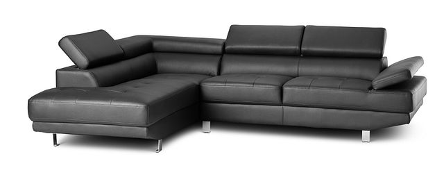 Zane Black Micro Left Chaise Sectional (1)
