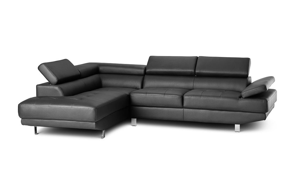 Zane Black Micro Left Chaise Sectional