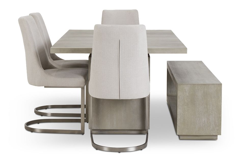 Madden Light Tone Rect Table, 4 Chairs & Bench,  (3)