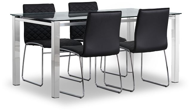 Skyline Black Rect Table & 4 Metal Chairs (1)