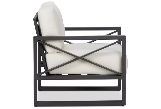 Linear Dark Gray White Aluminum Chair