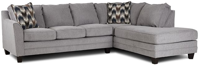 Charlie Light Gray Fabric Right Bumper Sectional (3)