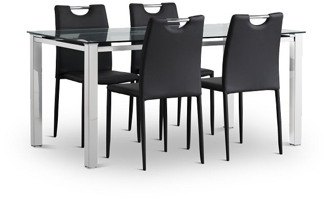 Skyline Black Rect Table & 4 Upholstered Chairs (1)