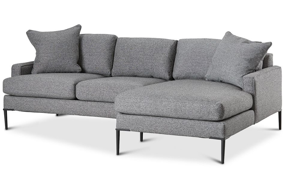 Morgan Dark Gray Fabric Small Right Chaise Sectional W/ Metal Legs