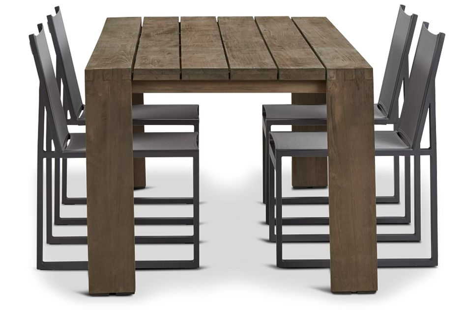 "Linear 82"" Teak Table & 4 Sling Side Chairs"