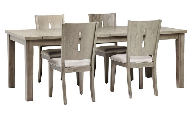 Sienna Gray Rect Table & 4 Wood Chairs