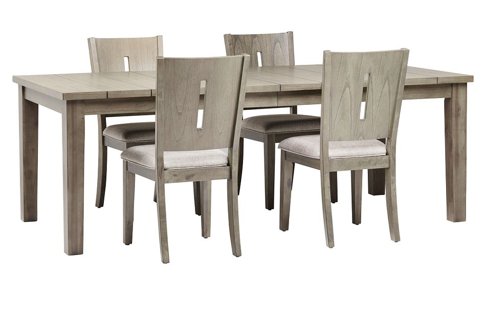 Sienna Gray Rect Table & 4 Wood Chairs,  (0)