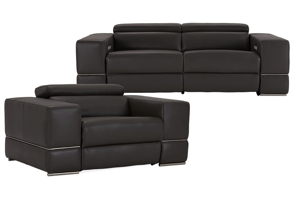 Dante Gray Leather Power Reclining Living Room