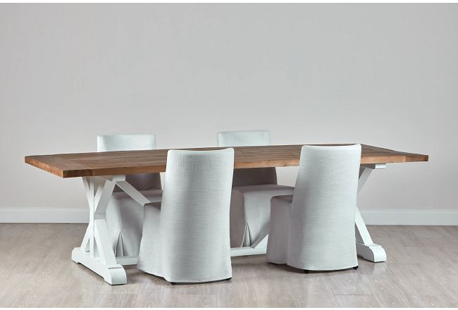 """Hilton Two-tone 110"""" Table & 4 Skirted Chairs"""