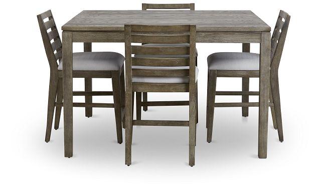 Bravo Dark Tone Square High Table & 4 Slat Barstools (2)