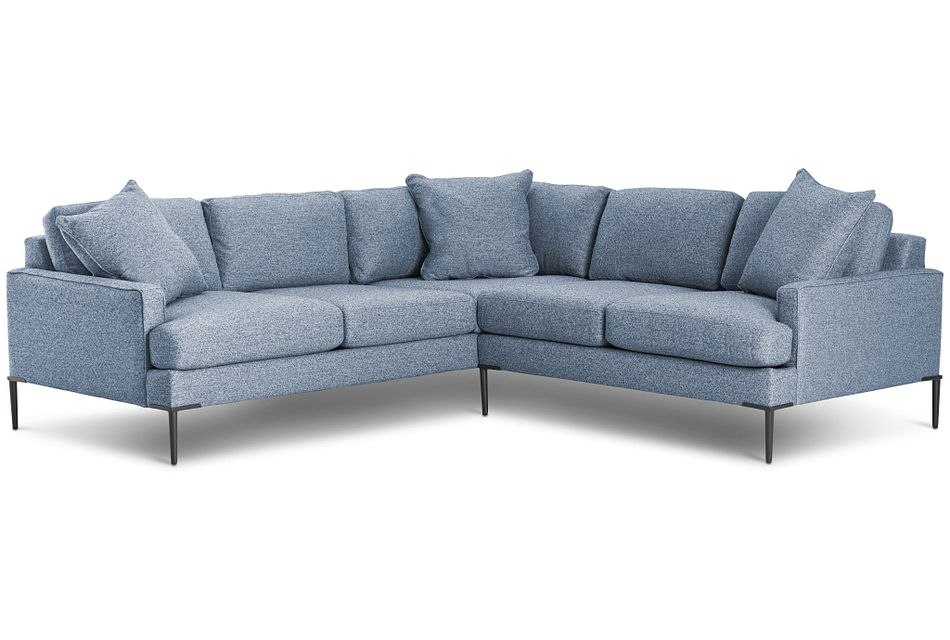 Morgan Blue Fabric Small Right 2-arm Sectional W/ Metal Legs