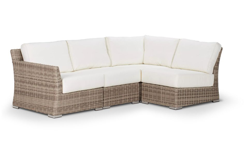 Raleigh White Left 4-piece Modular Sectional