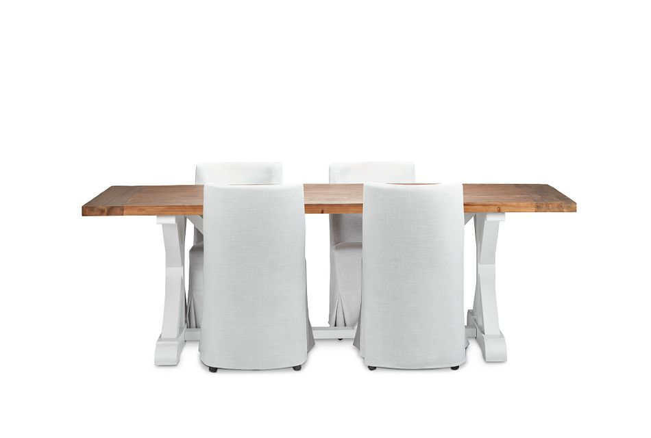 "Hilton Two-tone 96"" Table & 4 Skirted Chairs"