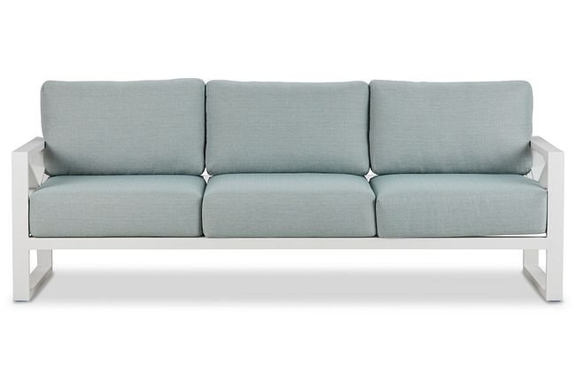 Linear White Teal Aluminum Outdoor Upholstery