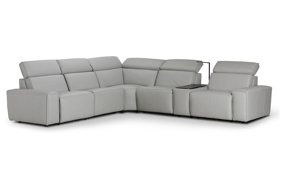 Carmelo Gray Leather Medium Dual Power 2-arm Reclining Sectional