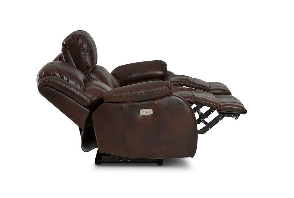 Dalton Medium Brown Lthr/vinyl Power Reclining Sofa