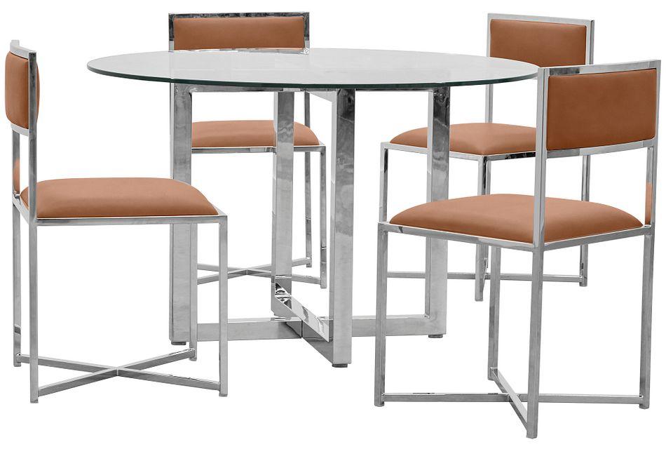 Amalfi Brown Glass Round Table & 4 Metal Chairs