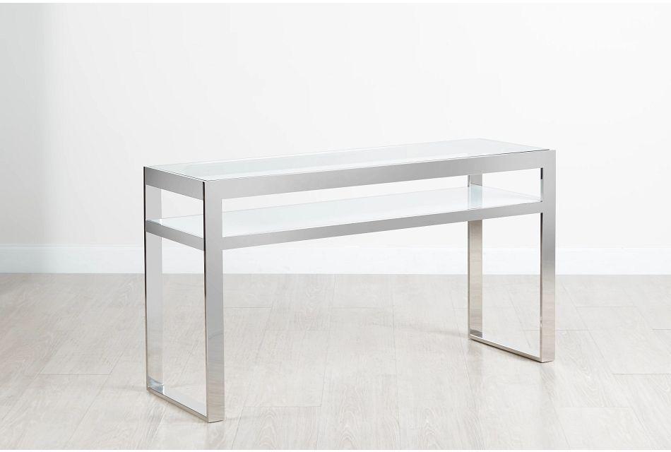 Miami White Glass Console Table