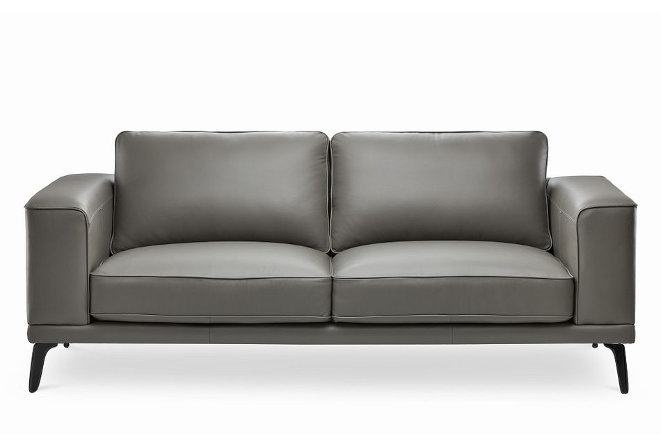 Naples Gray Leather Sofa With Black
