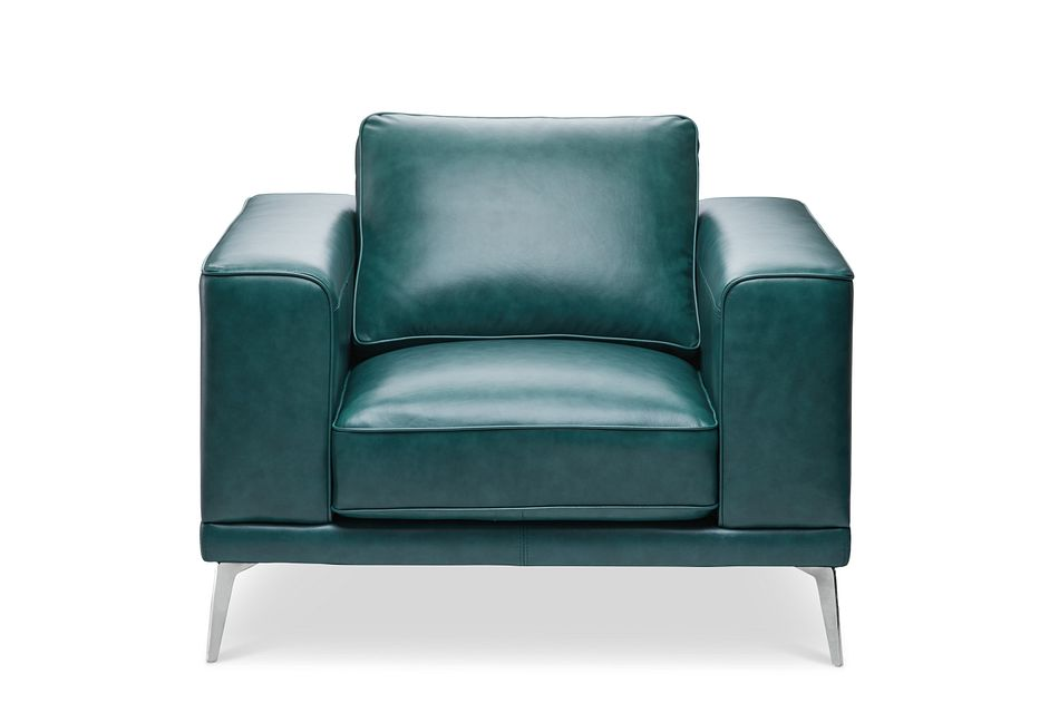 Naples Turquoise Leather Chair With Metal Legs