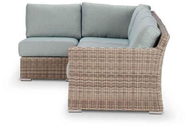 Raleigh Teal Right 4-piece Modular Sectional (1)