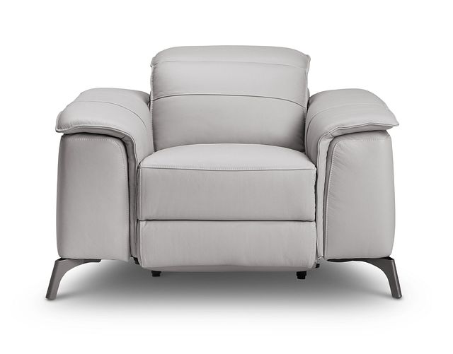 Pearson Gray Leather Power Recliner With Power Headrest (3)