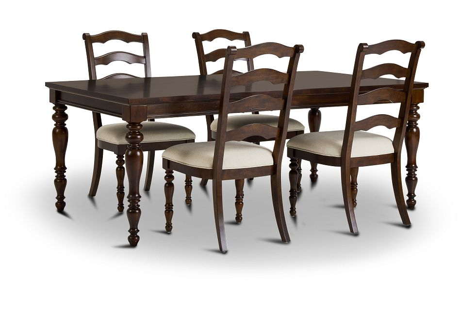 Savannah Dark Tone Rect Table & 4 Chairs