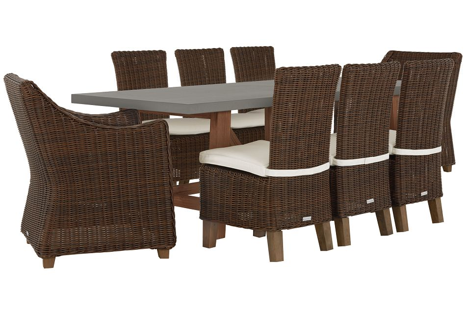Canyon Dark Brown White Concrete Rectangular Table & 4 Chairs