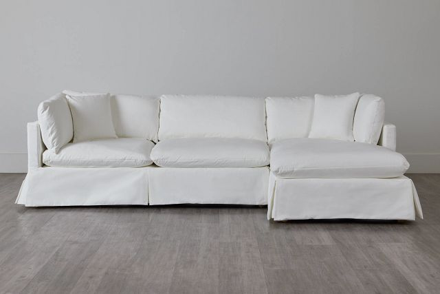 Raegan White Fabric Right Chaise Sectional (3)