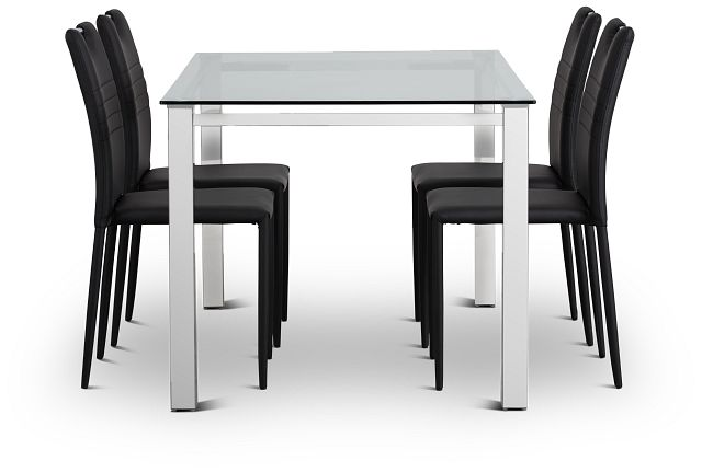 Skyline Black Rect Table & 4 Upholstered Chairs (2)