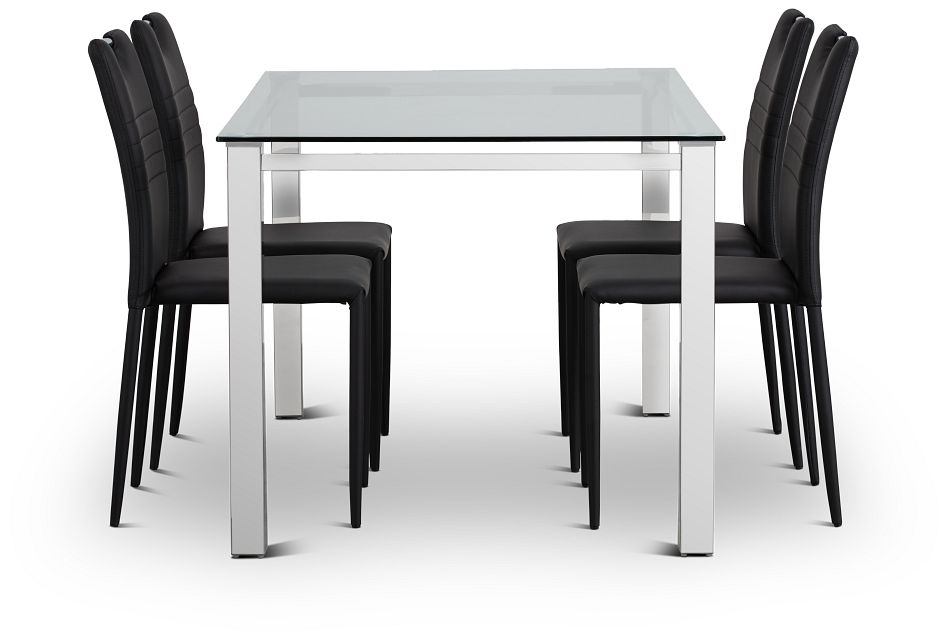 Skyline Black Rect Table & 4 Upholstered Chairs