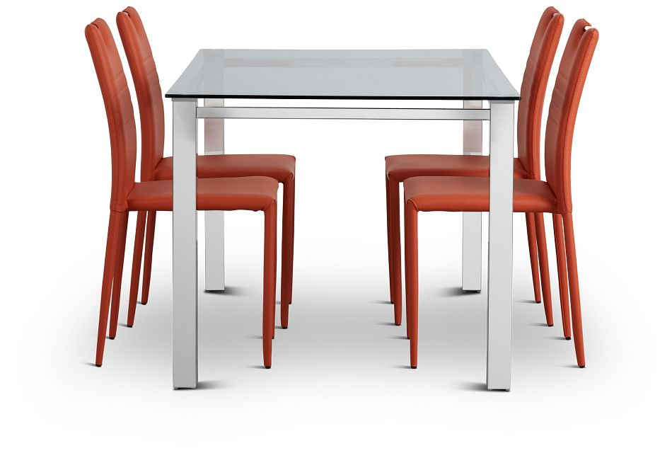 Skyline Orange Rect Table & 4 Upholstered Chairs