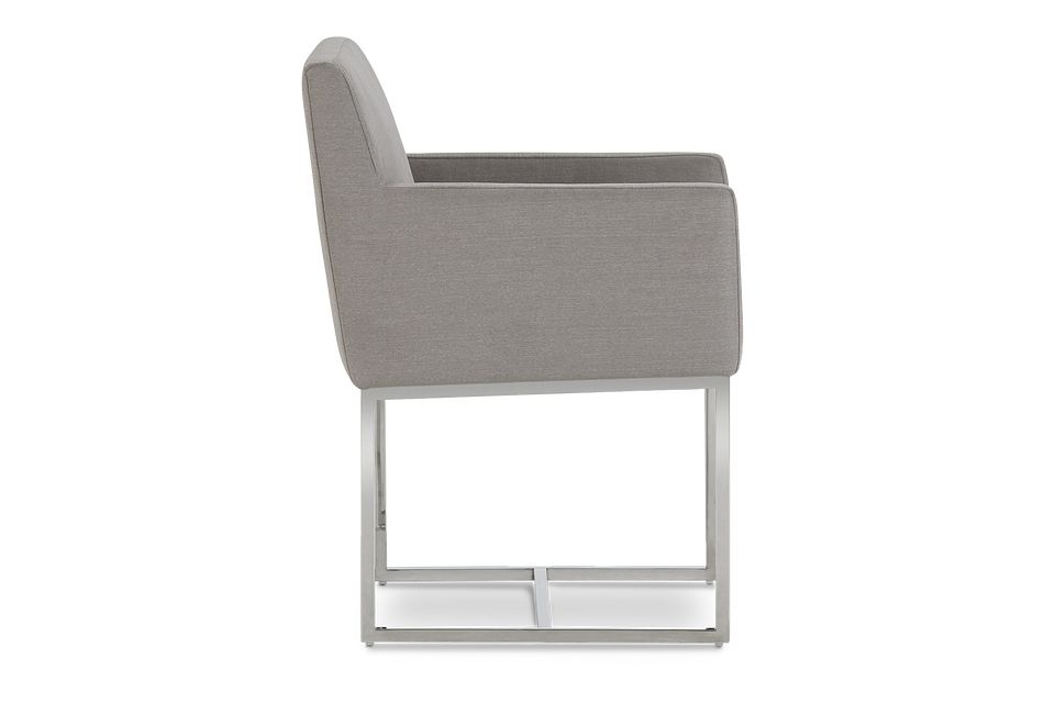Miami Light Gray Fabric Upholstered Arm Chair
