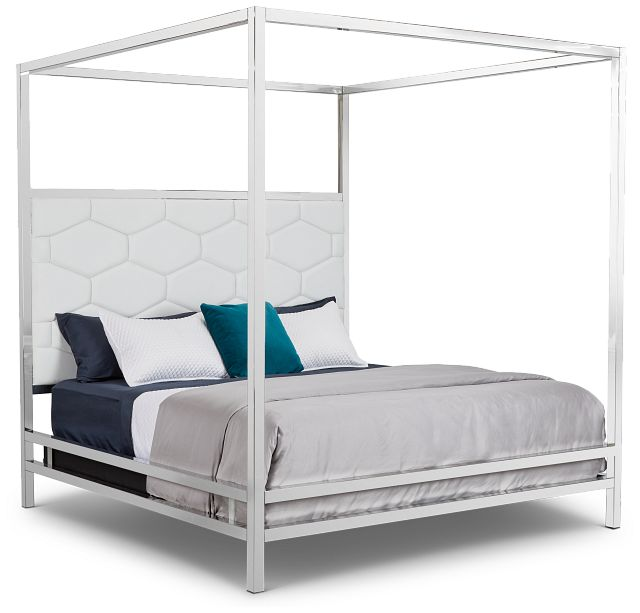 Cortina White Canopy Bed