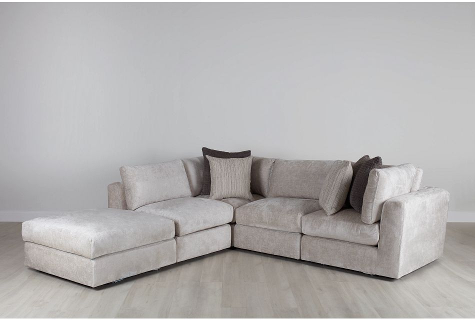 Oasis Light Beige Fabric 5pc Bumper Sectional