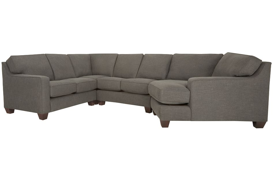 York Dark Gray Fabric Small Right Cuddler Sectional