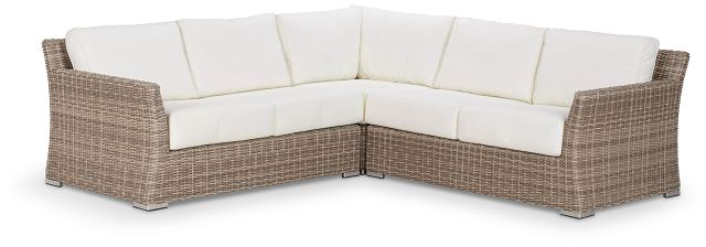 Raleigh White Woven Small Two-arm Sectional (2)