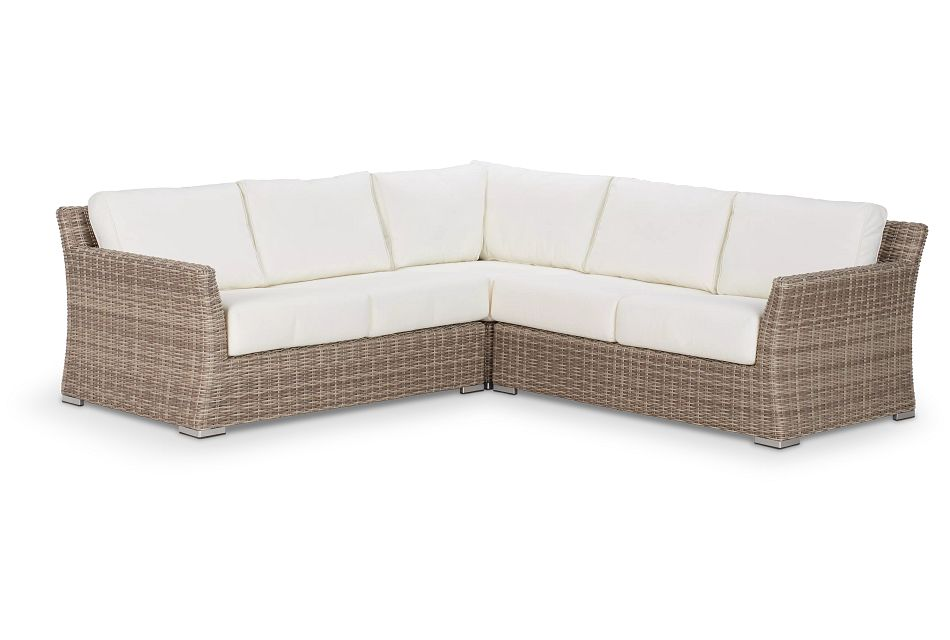 Raleigh WHITE WOVEN Small Two-Arm Sectional
